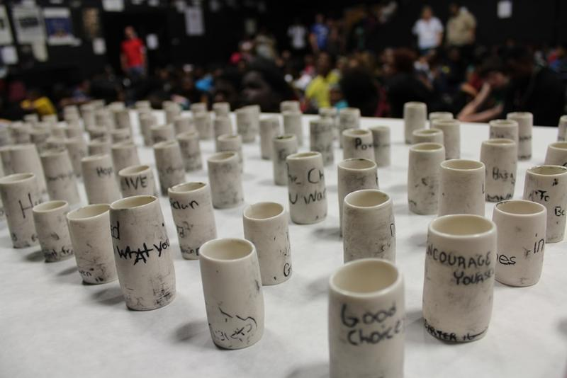 A sampling of teacups at McCluer High School