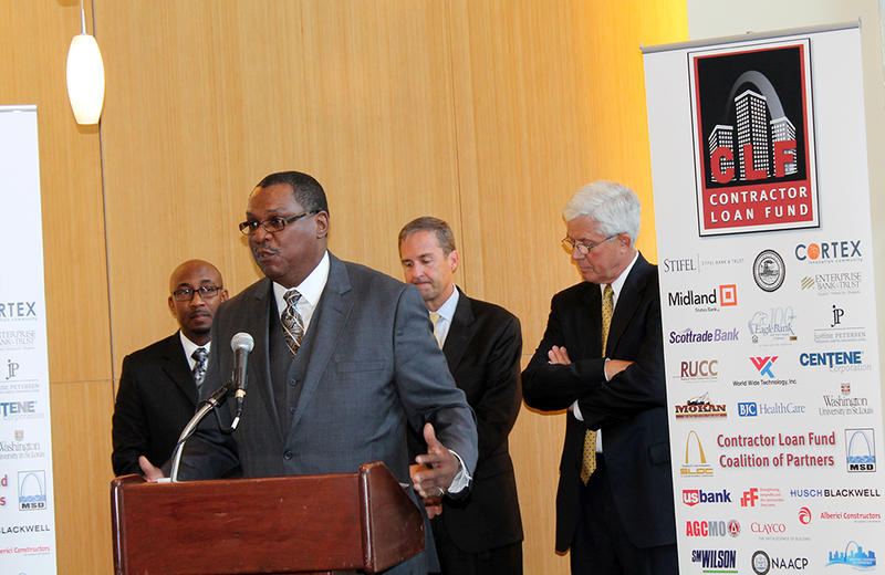 St. Louis NAACP President Adolphus Pruitt says the Contractor Loan Fund is a potential game-changer for diversity in St. Louis construction at a news conference announcing the fund Wednesday, May 27, 2015 at Cortex.