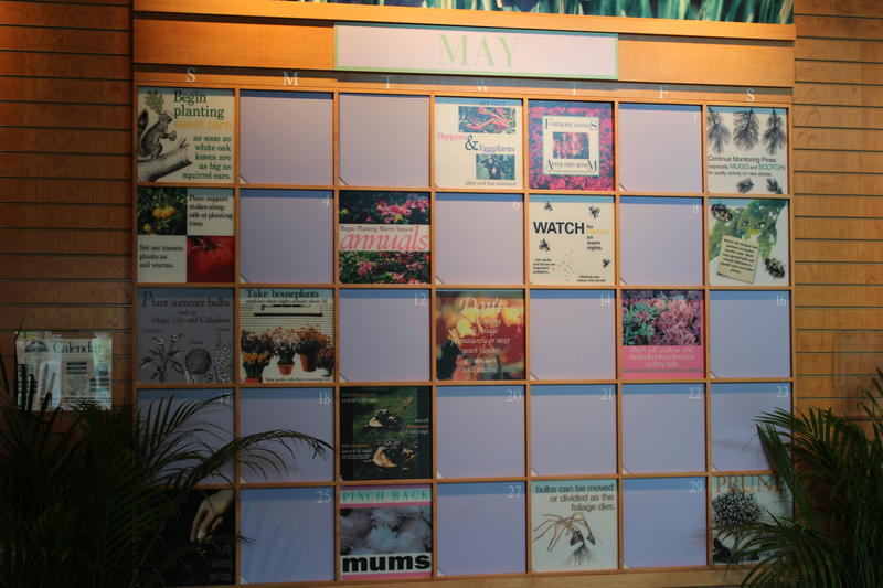 A gardening wall calendar at the Missouri Botanical Garden's Kemper Center for Home Gardening helps gardeners stay on track throughout the year.