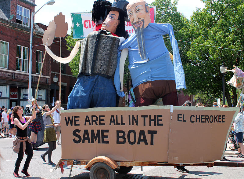 Gigante puppets pulled by bike in the People's Joy Parade during Cherokee Street's Cinco de Mayo festival Saturday,May 2, 2015.