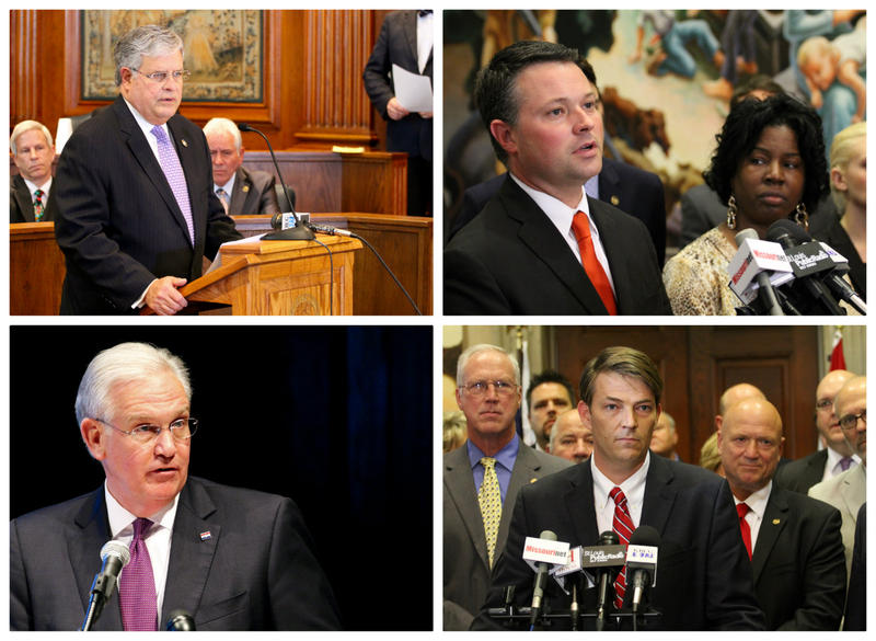 Clockwise from upper left, Sen. Ron Richard, R, Joplin; Reps. Jake Hummel and Karla May, newly elected Speaker Todd Richardson at microphone, Gov. Jay Nixon
