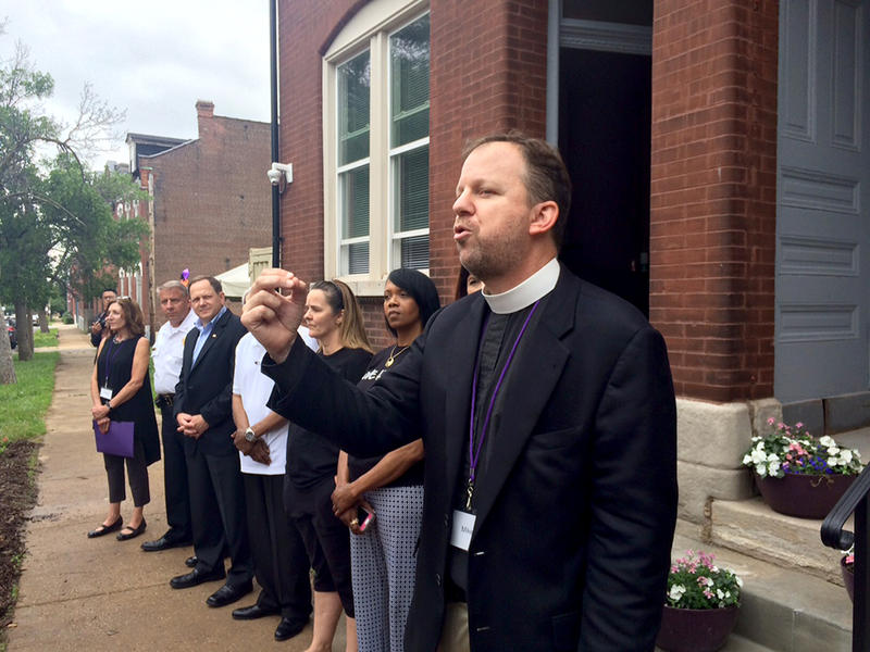 The Rev. Michael Kinman, dean of Christ Church Cathedral and Magdalene St. Louis board president during Magdalene House opening ceremonies May 30, 2015.