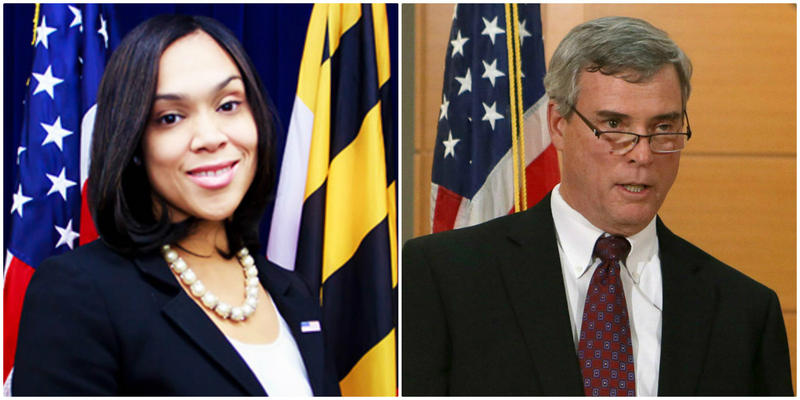 Prosecutor Marilyn Mosby of Baltimore, left, and Robert MCCulloch of St. Louis County