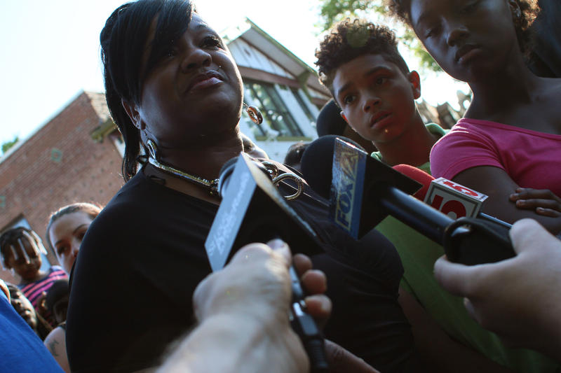 VonDerrit Myers' mother, Syreeta Myers, speaks with reporters following the announcement that charges will not be filled against the officer who killed her son.