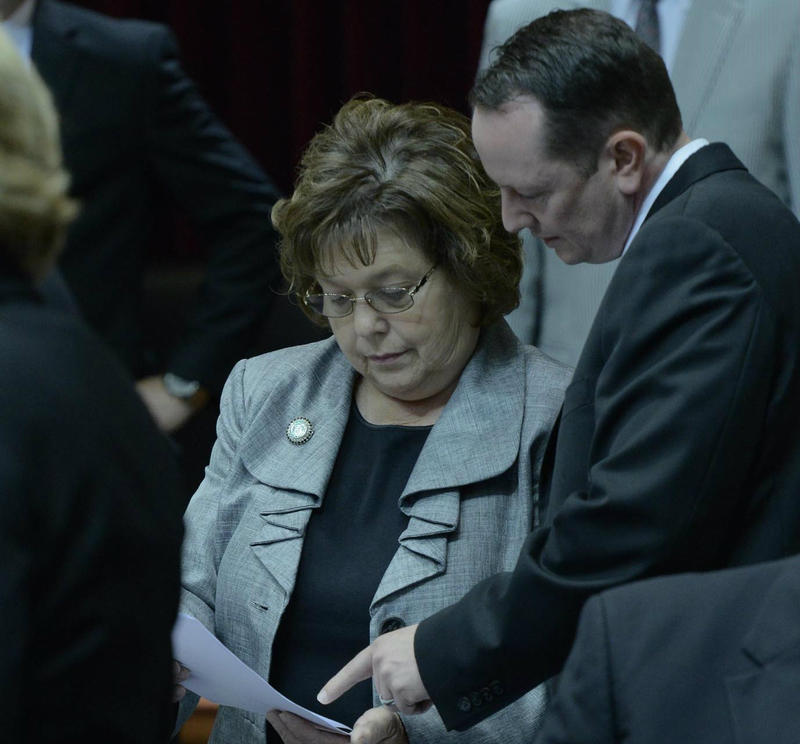 Reps. Sue Entlicher and Eric Burlison during the right-to-work debate. 5.13.2015