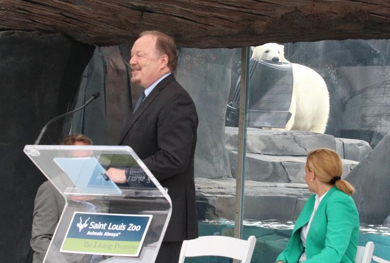 Kali upstages U.S. Fish & Wildlife Service Associate Director Bob Dreher.