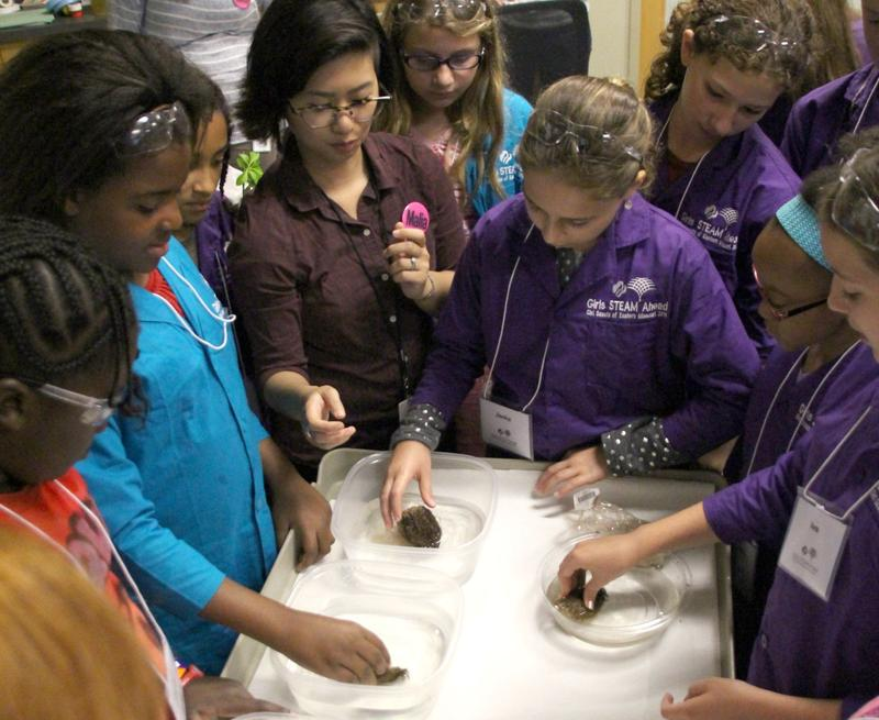 Danforth Center postdoc and plant biologist Malia Gehan shows some Girl Scouts how plants absorb water.