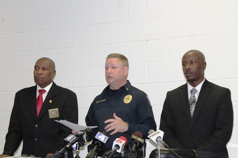 North County Police Cooperative chief Tim Swope (center) with Vinita Park mayor James McGee (left) and Wellston mayor Nathaniel Griffin (right) at a press conference announcing a policing contract arrangement on June 2, 2015.