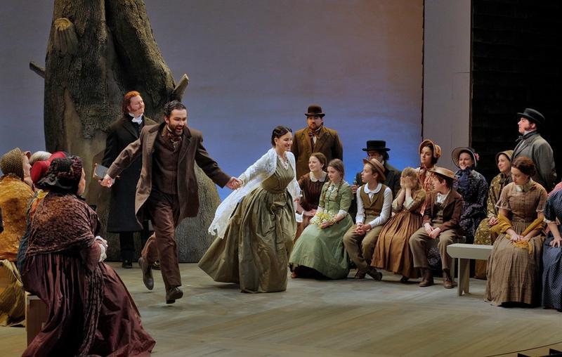 "John Irvin as Matthew Gurney and Joyce El-Khoury as Emmeline Mosher in Opera Theatre of Saint Louis' production of ""Emmeline."""
