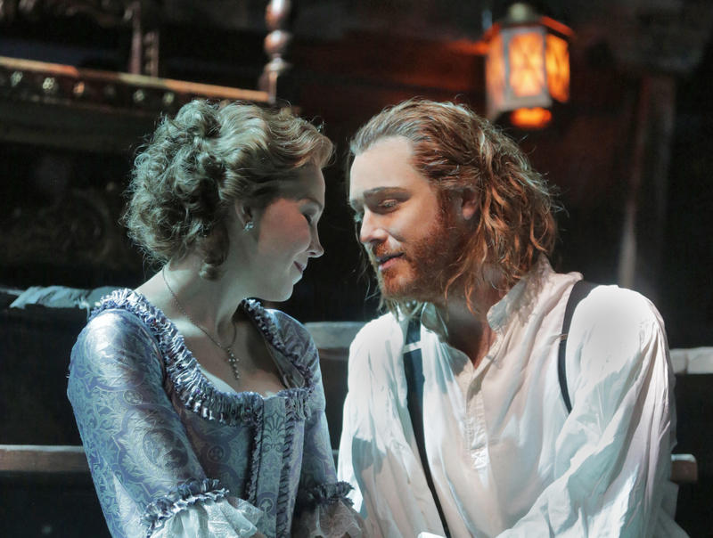 Susannah Biller as Costanza and Tim Mead as Richard the Lionheart in Opera Theatre of Saint Louis's 2015 production of Richard the Lionheart.