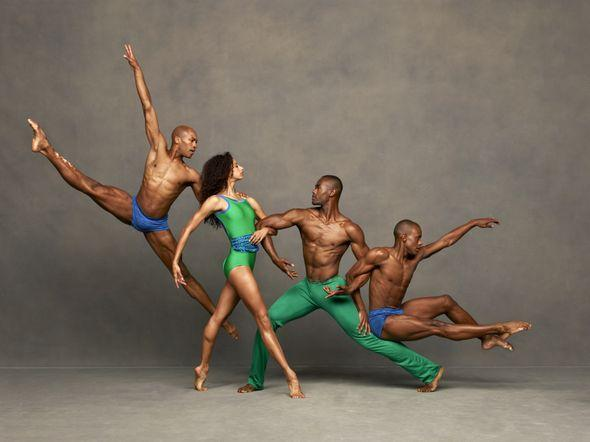 right to left, Antonio Douthit-Boyd, Alicia Graf-Mack, Jamar Roberts and Kirven Douthit-Boyd in Alvin Ailey performance