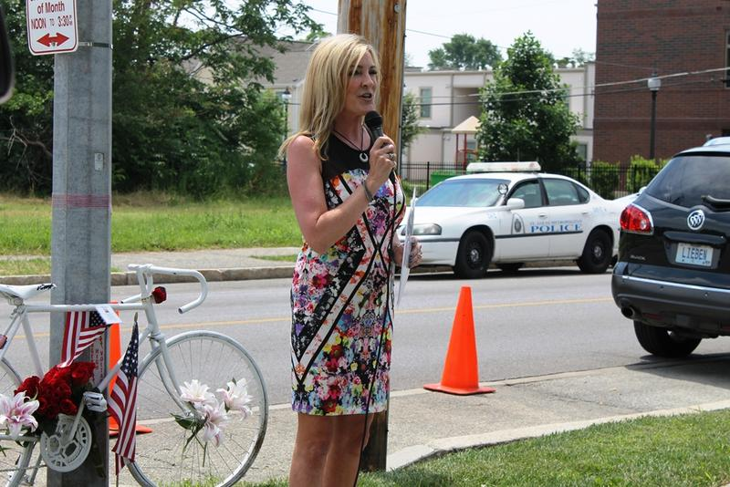 Elizabeth Beard Davis announces a $25,000 reward for anyone who has information about the death of her brother Rick, near the intersection where he was hit while riding his bike on June 20, 2014.