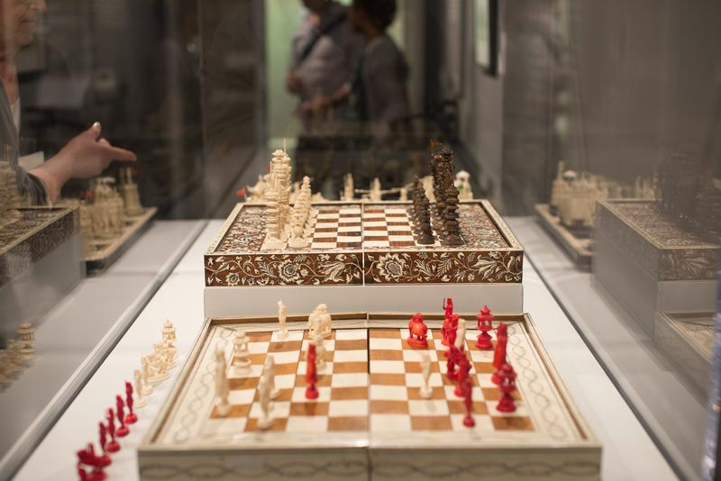 A chess set on exhibit at the World Chess Hall of Fame.