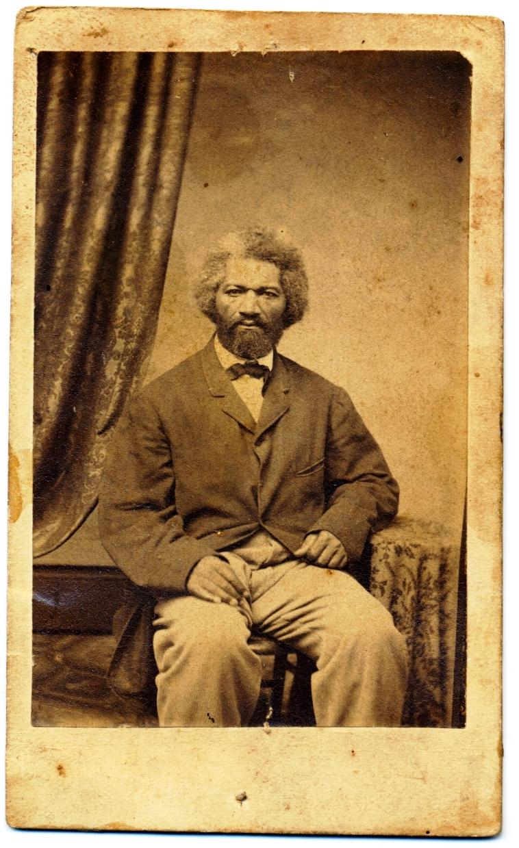 "Frederick Douglass , ca. 1860s. Photographer: Robert M. Cargo, 69 Fift h St.,  Pittsburgh, albumen print carte-de-visite, 4 x 2 ½. "" Collection of Robert E. Green"
