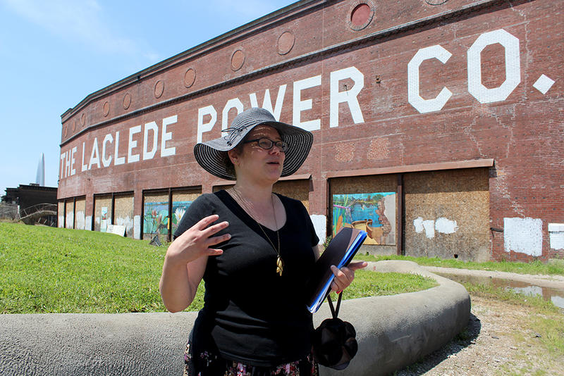 Architectural historian Lynn Josse tells a tour group about the history of the Laclede Power Plant built in 1901 on Saturday, June 6, 2015.