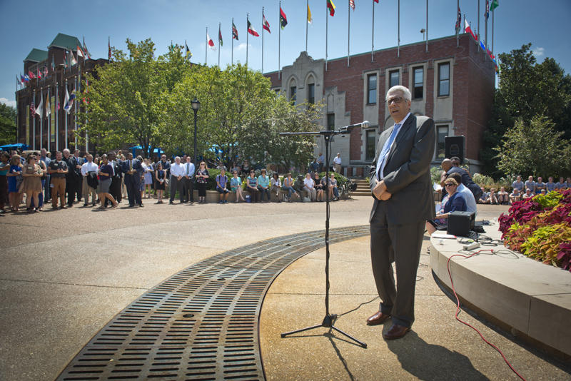 Saint Louis University President Fred Pestello addresses students at the university's Clock Tower last August after the death of Michael Brown in Ferguson.