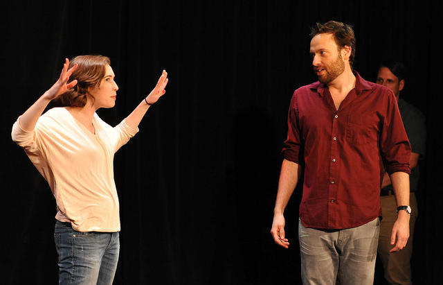 Improvisers Phoebe Richards and Chris Clark in an improv scene