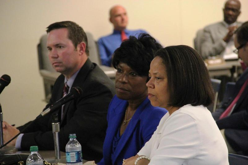 University City School District Superintendent Joylynn Pruitt (center), seen here at a district work session, will retire at the end of the 2015-2016 school year after nine years in the post.