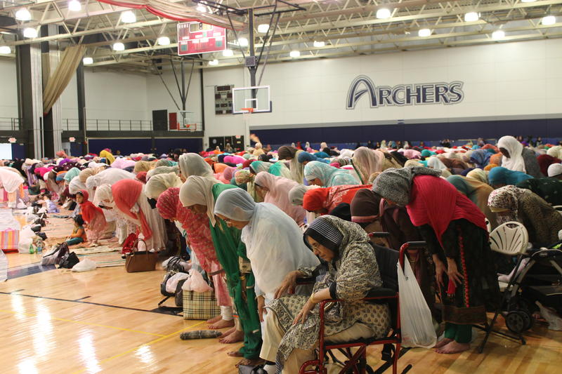 The gymnasium at St. Louis Community College-Forest Park was filled with hundreds of St. Louis area Muslims celebrating the Eid holiday and the end of Ramadan.