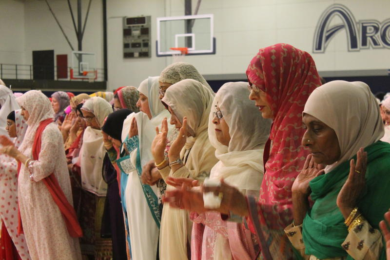 Women pray during the Islamic Foundation of Greater St. Louis' service to celebrate Eid al-fitr, or the breaking of the month-long Ramadan fast.
