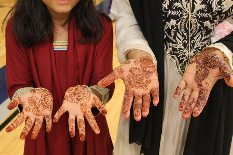 Mehndi, or henna, decorations are typically worn during times of celebration, like Eid, says Hina Raja of Wildwood (right).