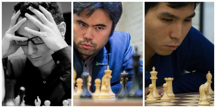 From left, Fabiano Caruana, Hikaru Nakamura and Wesley So