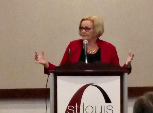 U.S. Sen. Claire McCaskill, D-Mo., speaks at a St. Louis Chamber luncheon.