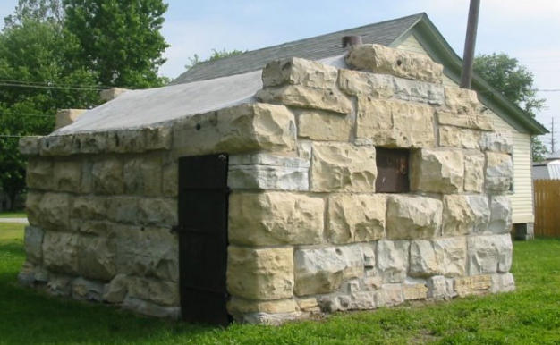 Elsberry's old calaboose was constructed c.1896 using limestone donated by local resident, Ira Smith from his rock quay on Page Branch Creek