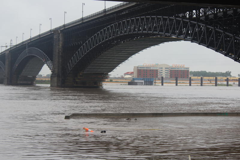Water levels on the Mississippi River rise to flood stages underneath Eads Bridge.
