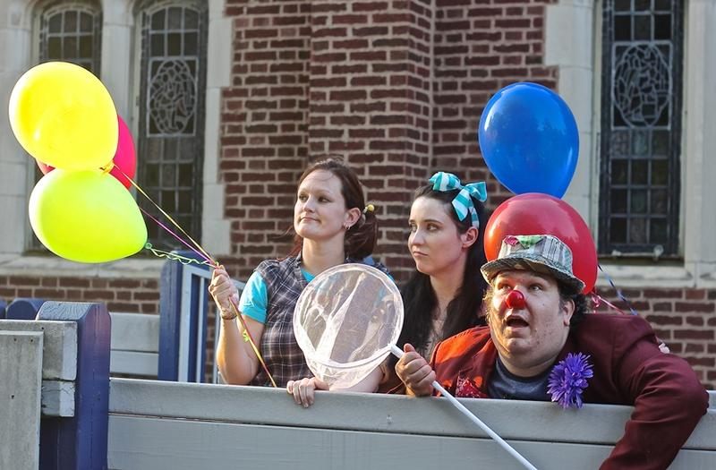 "Sara Sapp as Child B, Sarah McKenney as Child A and Steven Castelli as Clown in Theatre Nuevo's ""This Is Not Funny"""
