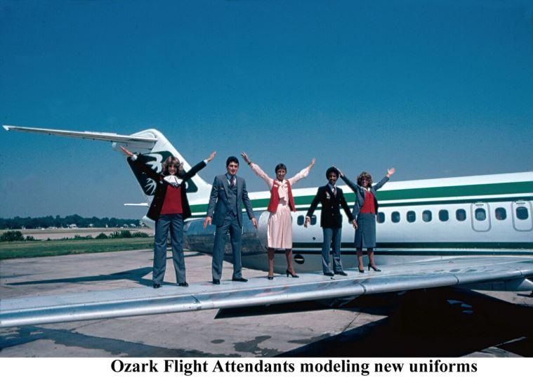 Ozark Air Lines flight attendants modeling new uniforms