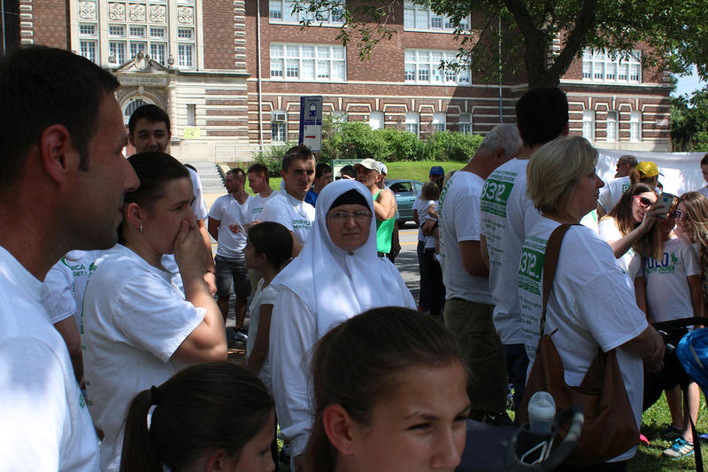 Bosnians gathered near the Sebilj Fountain