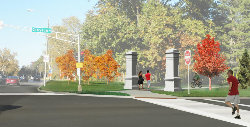 Rendering of a marker at the I-64, Skinker Boulevard and Wells Drive entrance to the park.