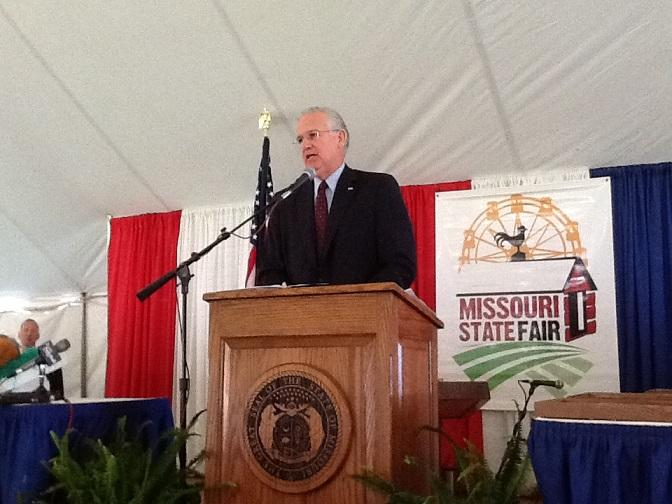 Gov. Jay Nixon touts his administration's record on agriculture at his annual Ham Breakfast at the 2015 Missouri State Fair.