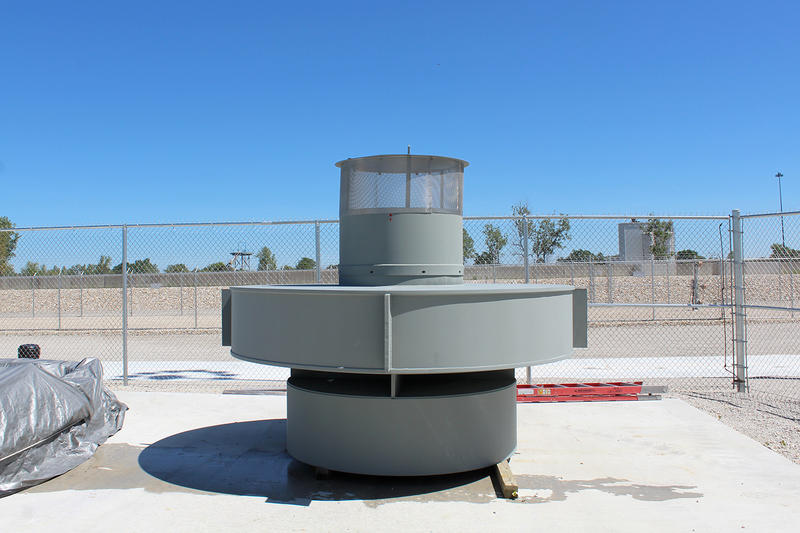 Once the VCT machine has lowered a sealed canister into a storage cylinder, it will be covered by this second lid, which allows hot air to flow out of the cylinder and cool air to flow in.