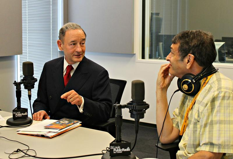 "Washington University Chancellor Mark Wrighton (left) spoke with education reporter Dale Singer (right) on ""St. Louis on the Air"" on Aug. 24, 2015."