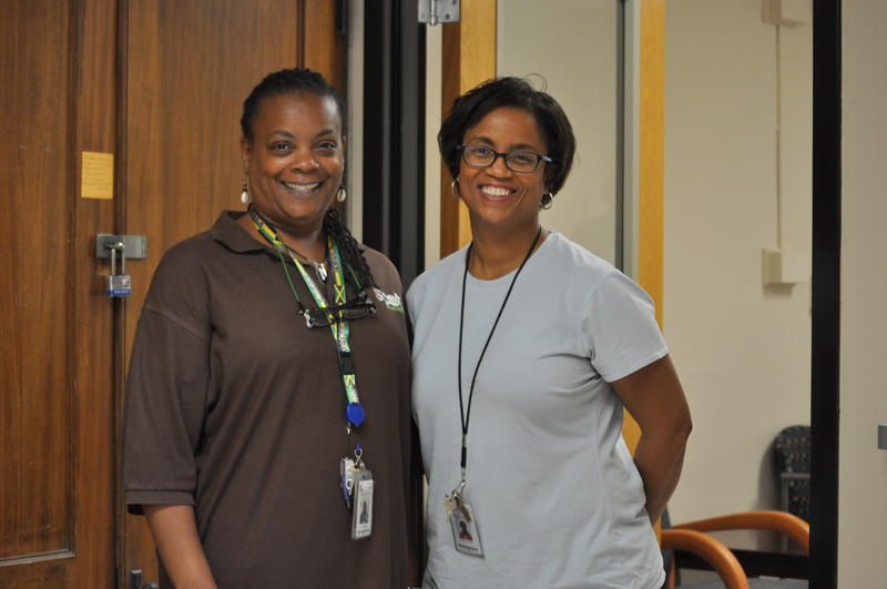 Chardial Samuel, (left) and Rochelle Moore staff the new SPOT clinic at Jennings Senior High.