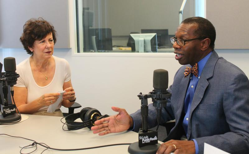 "Prof. Sarah Gehlert (left) and Dr. Will Ross (right) discussed precision medicine in studio on ""St. Louis on the Air."""