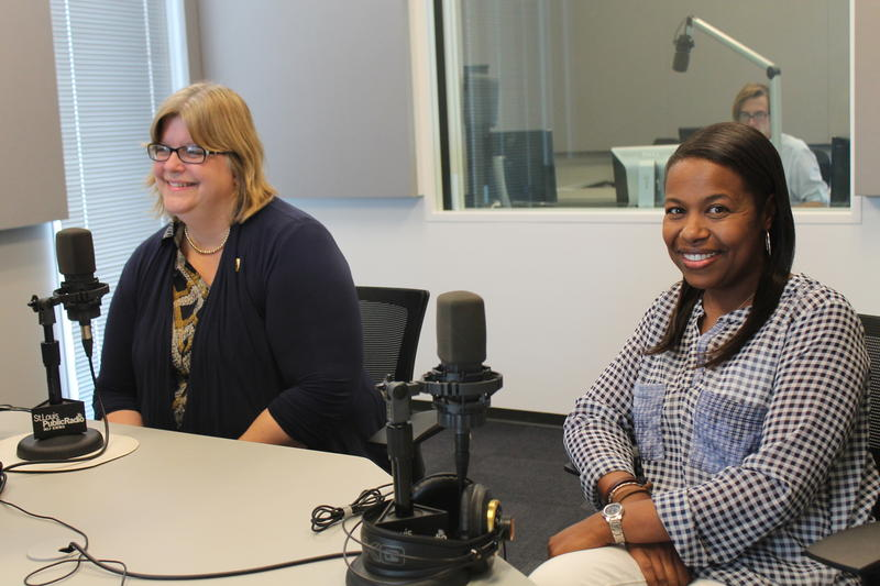"""Kathy Boyd-Fenger (left) and Colin Miller (right) joined """"St. Louis on the Air"""" to talk about Logos School's 45 years of serving at-risk students."""