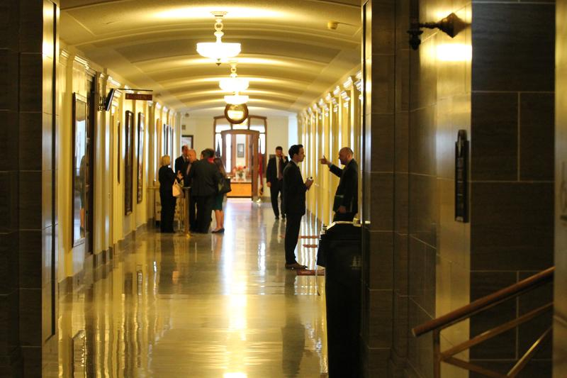 People mill in the hallway leading to the Missouri Senate chamber. The Missouri Senate often moves slower than the Missouri House -- and can also be where the fiercest legislative fights occur.