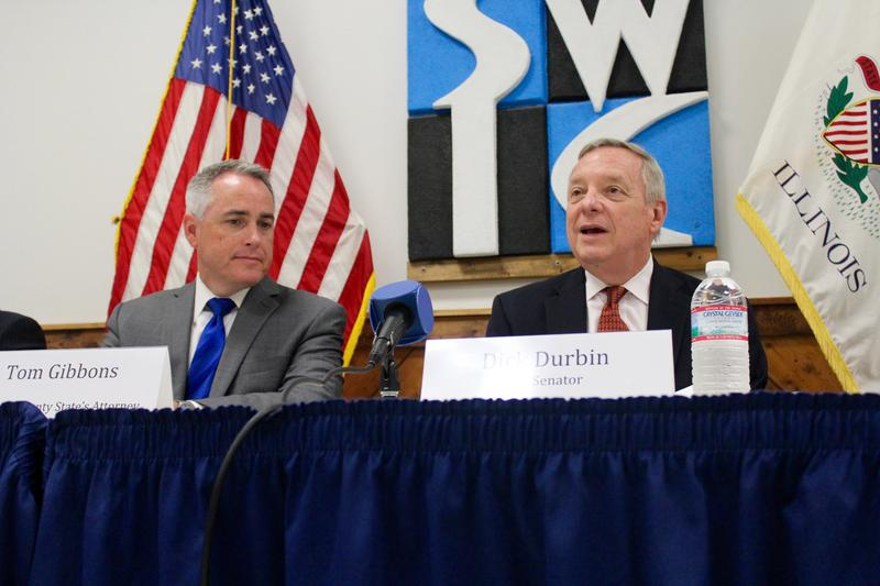 U.S. Sen. Dick Durbin, right, and Madison County State's Attorney Tom Gibbons take part in a roundtable on heroin abuse on Monday in Granite City.