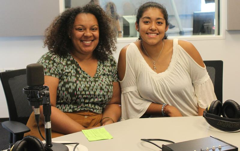 Karissa Anderson (left) of the Scholarship Foundation of St. Louis and DACA student Naomi Carranza (right) joined host Don Marsh in studio.