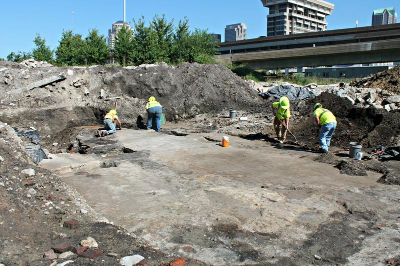 MoDOT archaeologists work at their most recent downtown excavation site.