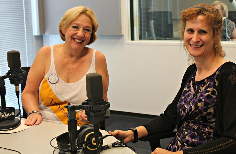 "Rebecca Now (left) and Yvette Joy Liebesman (right) joined ""St. Louis on the Air"" in studio to discuss the history of women's suffrage."