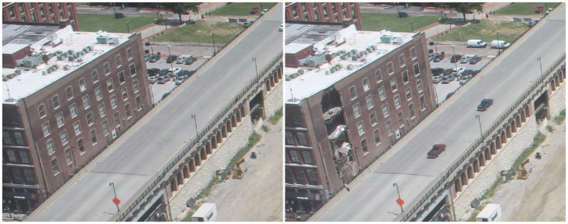 The Cutlery Factory building is seen in the photo at left at 1:30 this afternoon. The photo at right was taken less than an hour later.