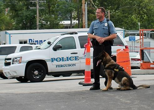 A Ferguson police officer and police dog stand by a police vehicle outside the Ferguson Police Department.