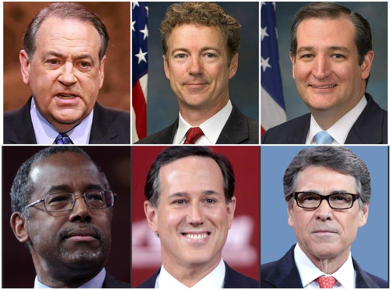 Clockwise from upper left: Mike Huckabee, Rand Paul, Ted Cruz, Rick Perry, Rick Santorum, Ben Carson