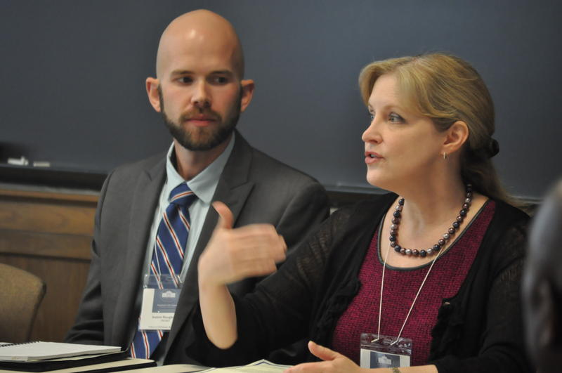 Panelist Dr. Karen Edison, who helps create health policy surveys at the University of Missouri, said she was once threatened with a loss of funding for including survey questions about sexual orientation. AJ Bockleman of PROMO sits to her right.