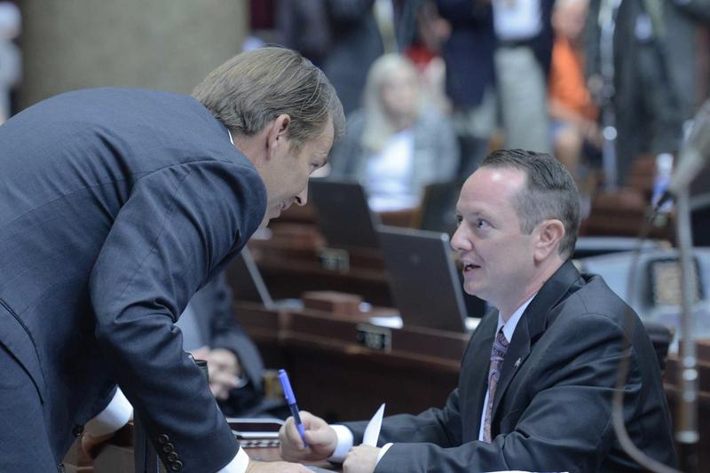 Rep. Eric Burlison, R-Springfield, and House Speaker Todd Richardson talk during the veto session.