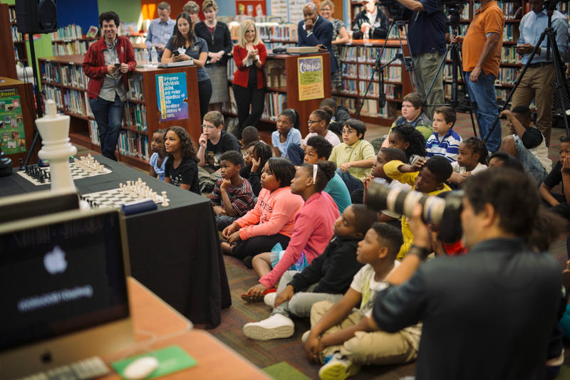 Students at Walnut Grove Elementary School provided a rapt audience for the unveiling of a new chess program.